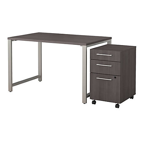 "Bush Business Furniture 400 Series Table Desk with 3 Drawer Mobile File Cabinet, 48""W x 30""D, Storm Gray, Premium Installation"