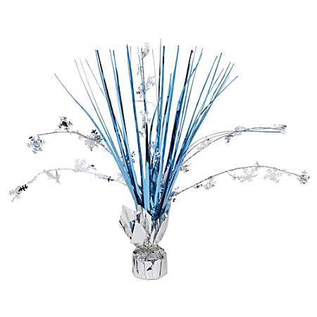 "Amscan Christmas Snowflake Spray Centerpieces, 12"" x 10"", Blue/Silver, Pack Of 10 Centerpieces"