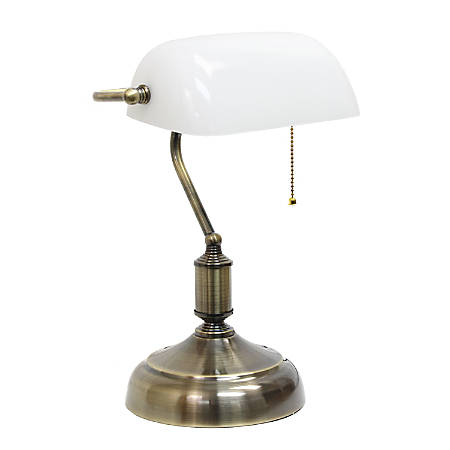 "Simple Designs Executive Banker's Desk Lamp, 14-3/8""H, White Shade/Antique Nickel Base"