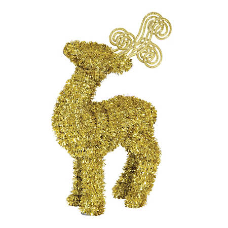 "Amscan Christmas 3-D Tinsel Deer, 11-3/4"" x 6-3/4"", Gold, Pack Of 3 Decorations"