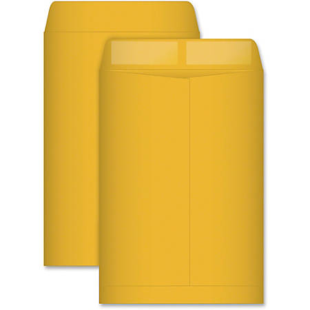 "Quality Park Catalog Envelope - Catalog - #75 - 7 1/2"" Width x 10 1/2"" Length - 28 lb - Gummed - Kraft - 500 / Box - Light Brown"