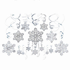 Amscan Hanging Snowflake Decorations Silver 30