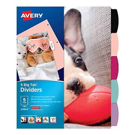 """Avery® Big Tab Write-On Fashion Dividers, 8-1/2"""" x 11"""", Puppies, Pack Of 5 Dividers"""