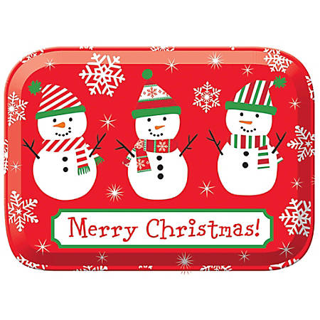 "Amscan Christmas Rectangular Plastic Boxes, 2-7/8""H x 8-5/8""W x 6-1/8""D, Snowman, Pack Of 7 Boxes"