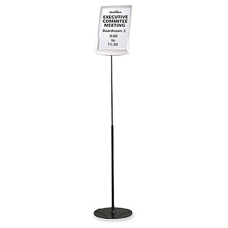 Durable Floor Model Sign Holder, Clear/Gray