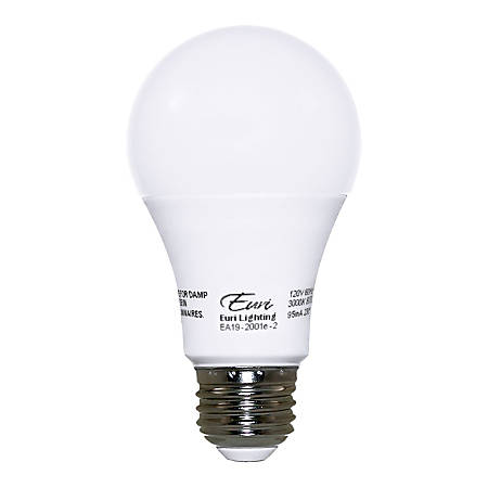 Euri A19 Standard Dimmable LED Bulbs, 9.5 Watts, 3000 Kelvin/Warm White, 800 Lumens, Pack Of 10 Light Bulbs