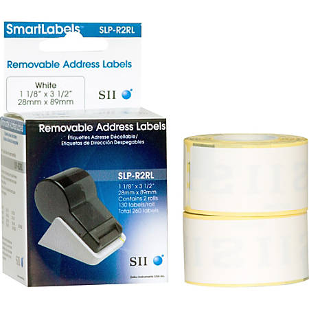 "Seiko Removable Standard Address Label - 3.5"" Width x 1.1"" Length - 130/Roll - 2 / Box - White"