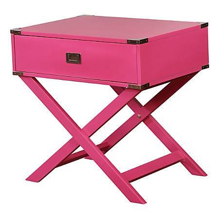 Linon Ari X-Base Accent Table, Square, Pink
