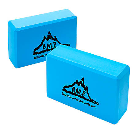 """Black Mountain Products Yoga Blocks, 3""""H x 6""""W x 9""""D, Blue, Pack Of 2"""
