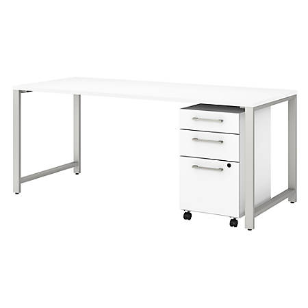 """Bush Business Furniture 400 Series 72""""W x 30""""D Table Desk With 3-Drawer Mobile File Cabinet, White, Standard Delivery"""