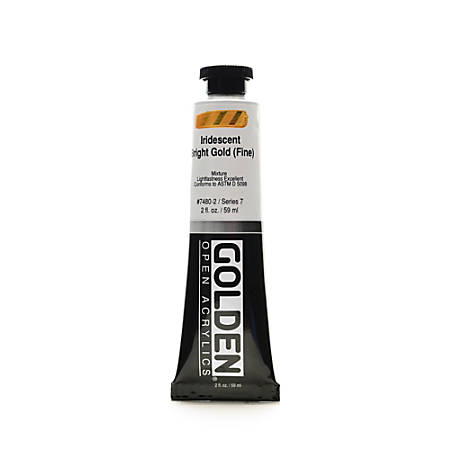 Golden OPEN Acrylic Paint, 2 Oz Tube, Iridescent Bright Gold (Fine)