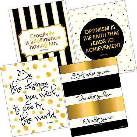 """Barker Creek Art Print Set, 8"""" x 10"""", Creativity, Intelligence And Optimism 24K Gold Collection, Pre-K To College, Pack Of 4"""
