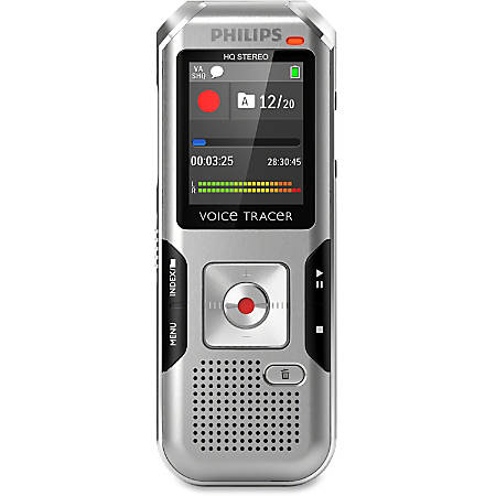 "Philips Voice Tracer Audio Recorder (DVT4010/00) - 8 GBmicroSD Supported - 1.8"" LCD - MP3, WAV, WMA - Headphone - 2280 HourspeaceRecording Time - Portable"