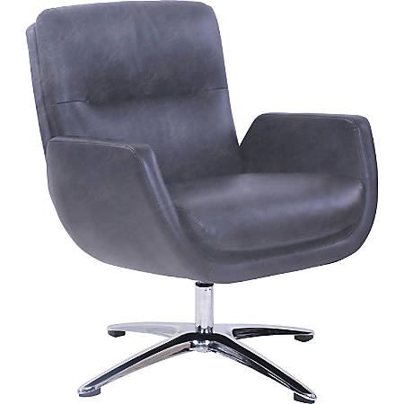 Lorell® Distressed Soft Touch Lounge Chair, Black