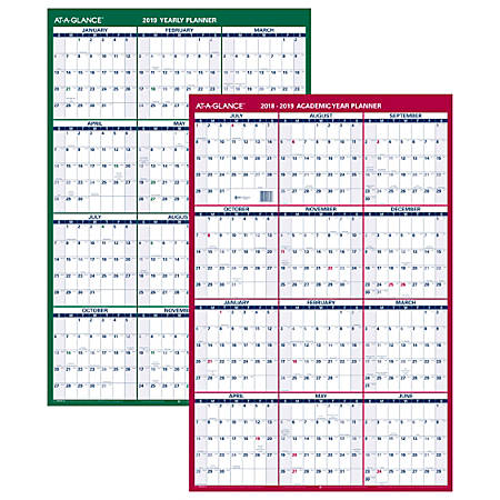 "AT-A-GLANCE® Vertical Yearly Erasable Wall Calendar, 24"" x 36"", White"