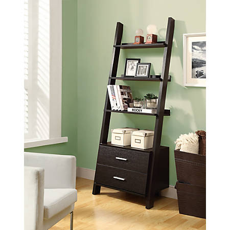 Monarch Specialties 4-Shelf Ladder Bookcase With 2 Drawers, Cappuccino