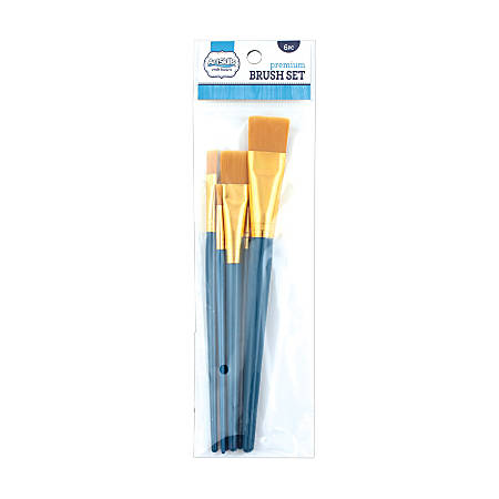 Artskills® Premium Craft Brushes, Natural Bristles, Blue Handle, Set Of 6