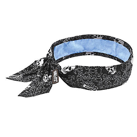 Ergodyne Chill-Its 6700CT Evaporative Cooling Tie Bandanas With Cooling Towel, Skulls, Pack Of 6 Bandanas