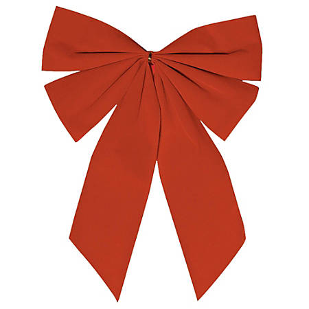 """Amscan Flocked Christmas Bows, 15"""" x 11, Red, Pack Of 10 Bows"""