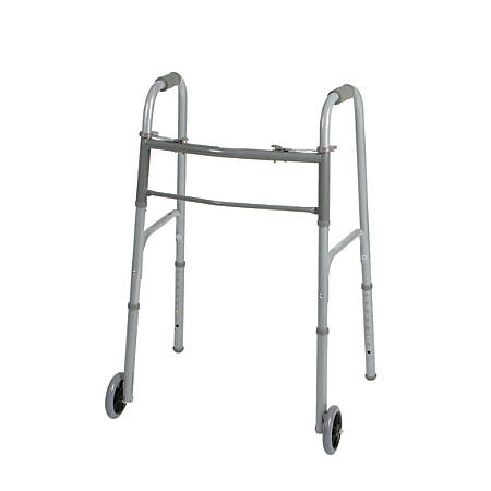 "Guardian Adult 2-Button Folding Walkers, 5"" Wheels, 32 - 38"", Case Of 4"