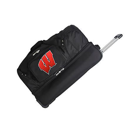 Denco Sports Luggage Rolling Drop-Bottom Duffel Bag, Wisconsin Badgers, Black
