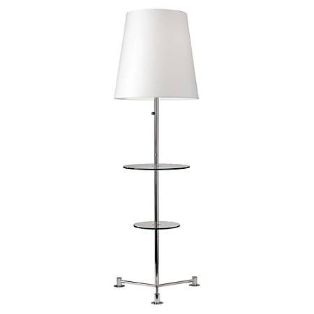 "Adesso® Channing Shelf Floor Lamp, 65""H, White Shade/Nickel Base"