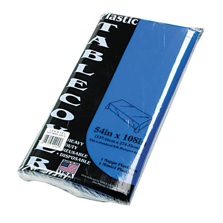 """Tablemate Plastic Rectangular Table Covers, 54"""" x 108"""", Blue, Pack Of 6"""