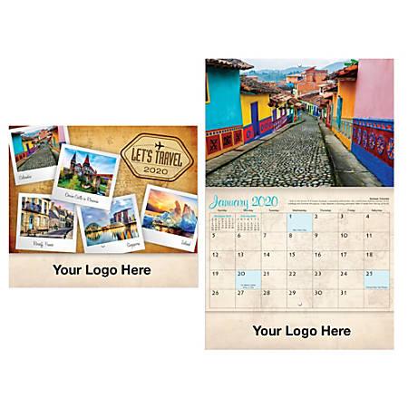 "Let's Travel 13-Month Wall Calendar, 20"" x 10 3/8"", December to December"