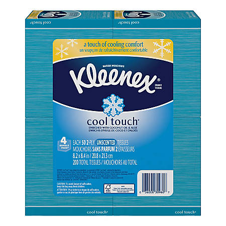 Kleenex® Cool Touch™ Facial Tissues, Blue, 60 Tissues Per Box, Pack Of 4 Boxes