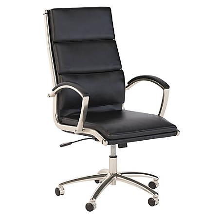 Bush Business Furniture Modelo High Back Leather Office Chair, Black, Premium Installation