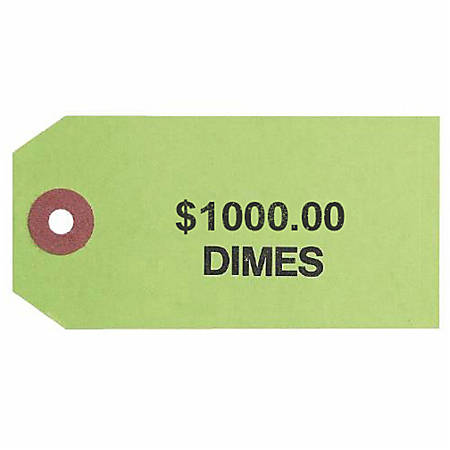 """Control Group #3 Coin Bag Tags, 560088, 1-7/8"""" x 3-3/4"""", Green, Pack Of 1000"""