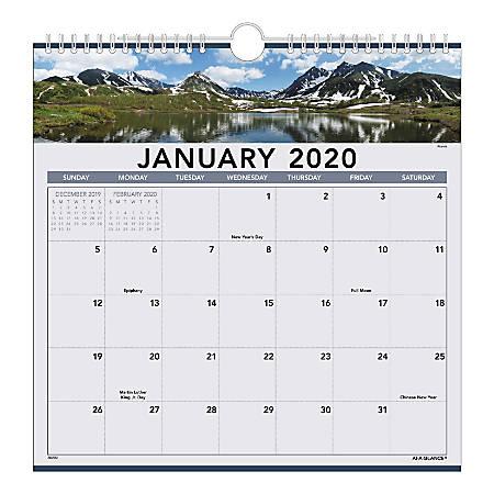 January 2020 Calendar 85 X 14 AT A GLANCE Landscape Calendar 88200 20   Office Depot
