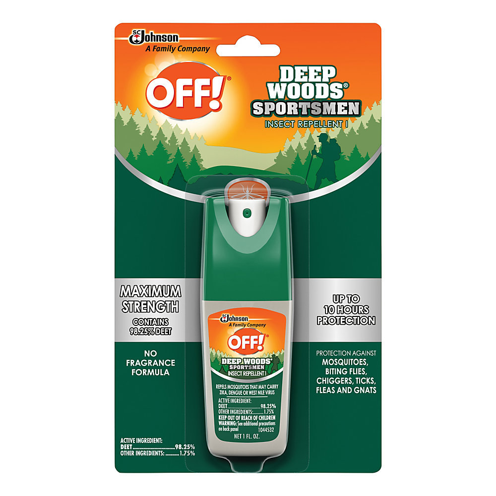 Keep mosquitoes at bay with help from this OFF! Deep Woods repellent. The non-greasy, odorless formula protects you for up to 10 hours.  100% DEET formula provides strong protection against mosquitoes, ticks, chiggers, fleas, stable flies, black flies, gnats and sand flies.  Formula is non-greasy and odorless.  Repels insects for up to 10 hours.  Containers hold 1 oz each.