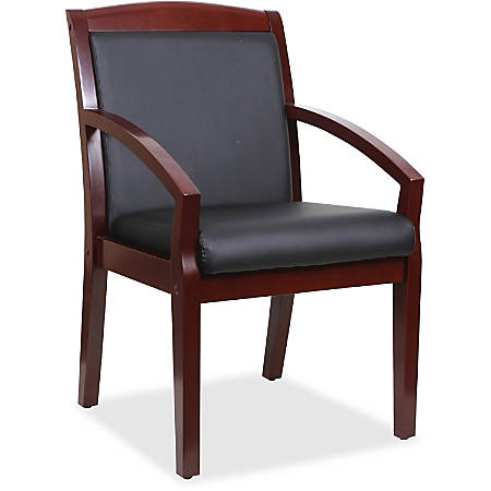 Lorell® Sloping Arms Bonded Leather Wood Guest Chair, Black/Mahogany