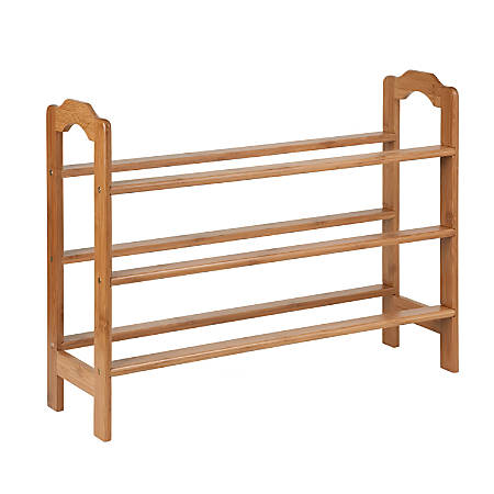 "Honey-Can-Do 3-Tier Bamboo Shoe Storage Rack, 21""H x 28 1/2""W x 8 3/4""D, Natural"