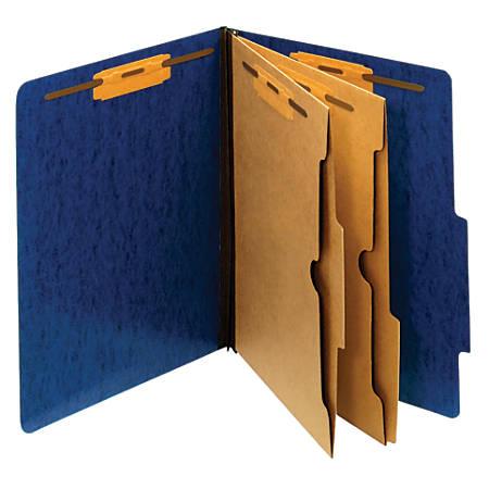 "Pendaflex® Moisture-Resistant 6-Fastener Classification Folders, 2"" Expansion, Letter Size, Dark Blue, Box Of 10 Folders"