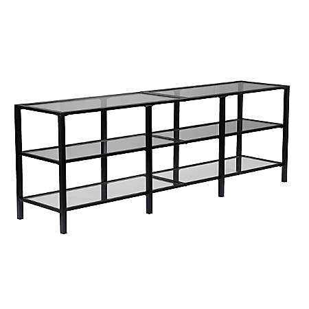 "Southern Enterprises Tyler Metal/Glass Media Stand For Flat-Screen TVs, 24-1/4""H x 70""W x 16""D, Black"