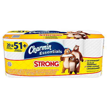 Charmin® Essentials Strong™ 1-Ply Bathroom Tissue, 300 Sheets Per Roll, Pack Of 20 Rolls