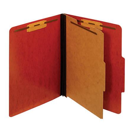 "Pendaflex® Pressboard Moisture-Resistant Classification Folders, 1 3/4"" Expansion, Letter Size, Red, Box Of 10 Folders"
