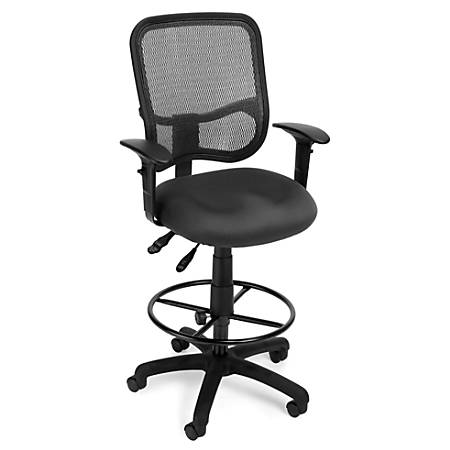 OFM Mesh Comfort Series Ergonomic Fabric Task Chair With Arms And Drafting Kit, Gray/Black