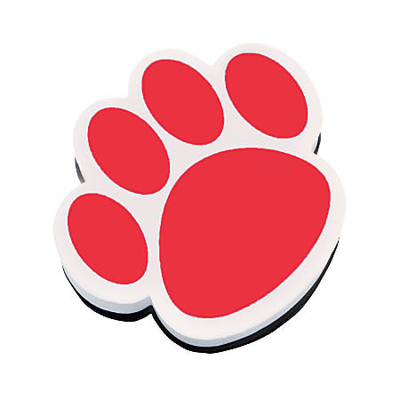 "Ashley Productions Magnetic Whiteboard Erasers, 3 3/4"", Red Paw, Pack Of 6"