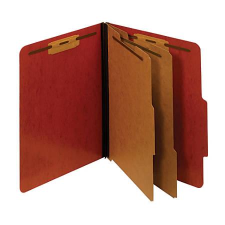 "Pendaflex® Pressboard Moisture-Resistant Classification Folders, 2 1/2"" Expansion, Letter Size, Red, Box Of 10 Folders"