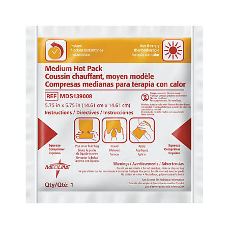 "Medline Instant Hot Packs, 6"" x 6"", Pack Of 24"