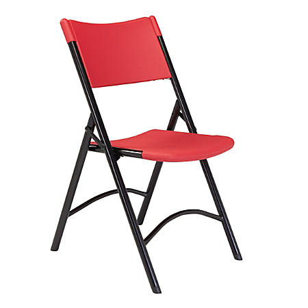 National Public Seating Series 600 Folding Chairs, Red/Black, Pack Of 4 Chairs
