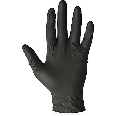 ProGuard Disposable Nitrile General Purpose Gloves - Medium Size - Nitrile - Black - Ambidextrous, Disposable, Powder-free, Beaded Cuff - For Cleaning, General Purpose, Material Handling, Chemical - 1000 / Carton