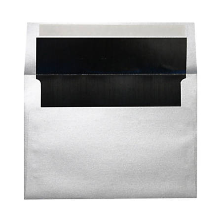 """LUX Foil-Lined Invitation Envelopes With Peel & Press Closure, A4, 4 1/4"""" x 6 1/4"""", Silver/Black, Pack Of 1,000"""