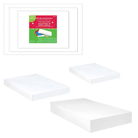 Amscan Christmas Gift Boxes, Assorted Sizes, White, Pack Of 30 Boxes