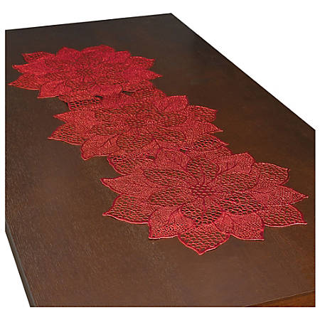 """Amscan Christmas Poinsettia Table Runners, 35"""" x 13-1/2"""", Red, Pack Of 2 Runners"""