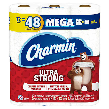 Charmin Ultra Strong 2-Ply Bathroom Tissue Mega Rolls, 373' Rolls, White, 286 Sheets Per Roll, Pack Of 12 Rolls