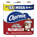 "Charmin Ultra Strong 2-Ply Mega-Roll Bathroom Tissue, 4"" x 373', White, 286 Sheets Per Roll, Pack Of 12 Rolls"
